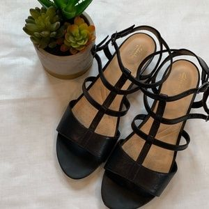 Clark's Artisian Black Leather Sandals NWOT